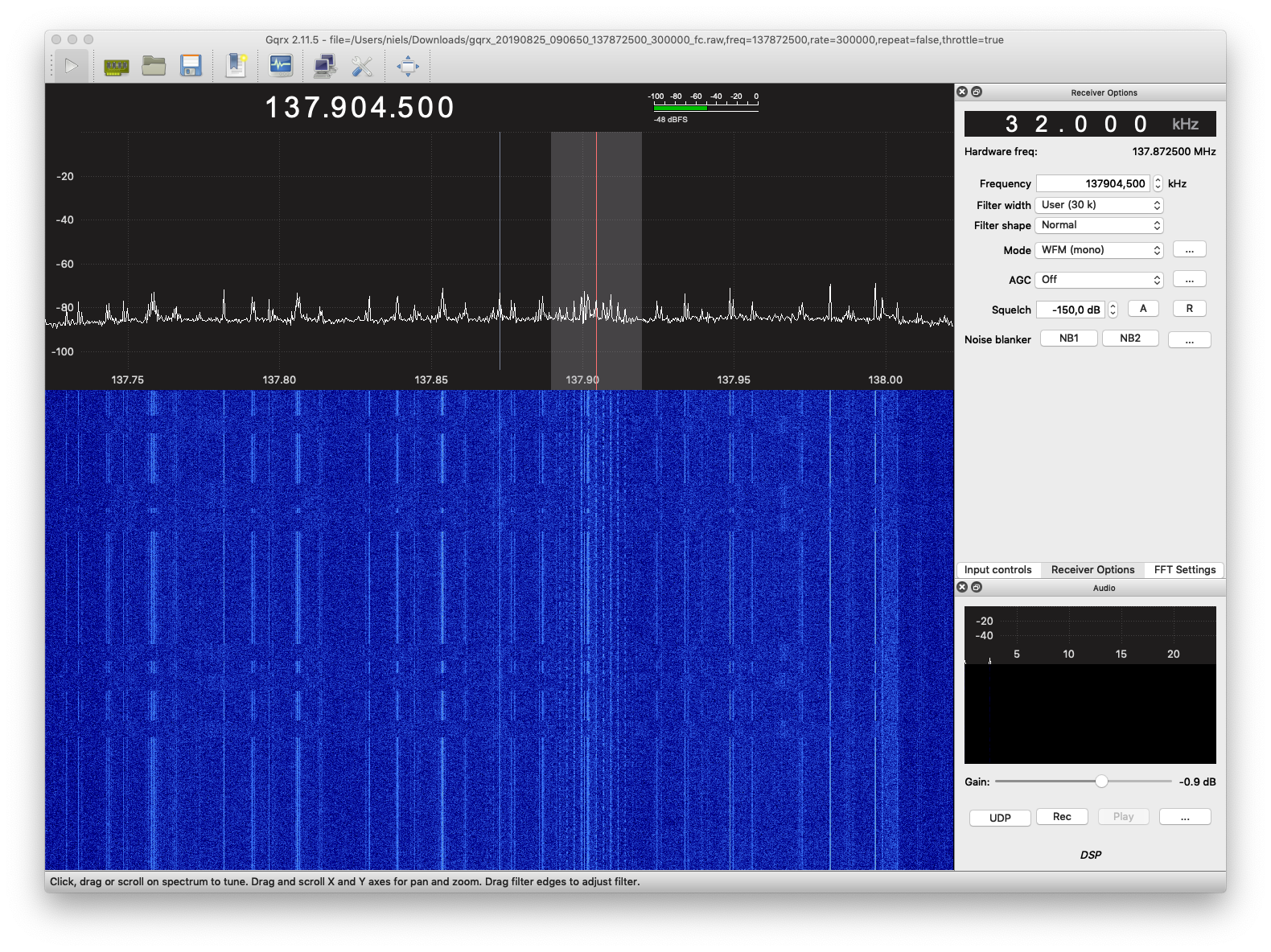 screenshot of GQRX during early acquisition