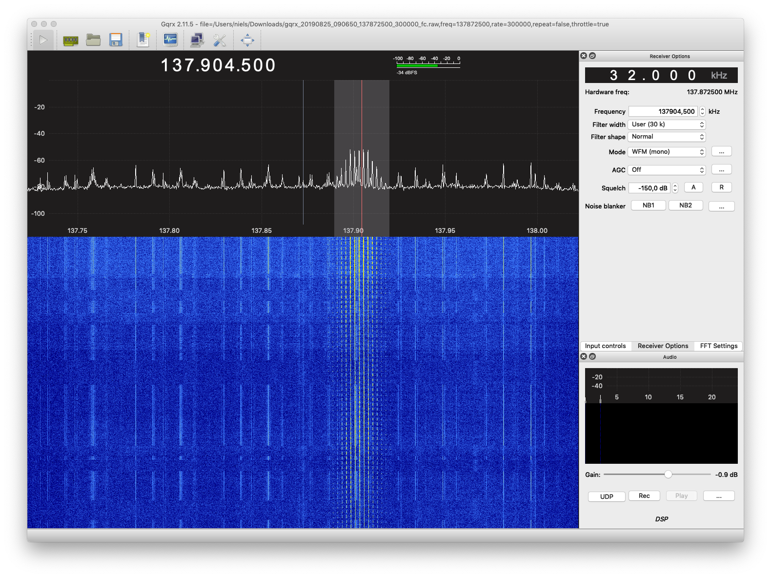 screenshot of GQRX at peak